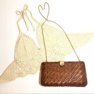Vintage Boho Basket Bag with chain